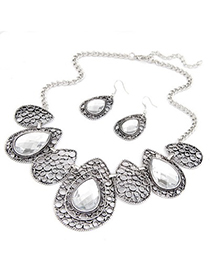 Layered White Hollow Out Water Drop Pattern Design Alloy Jewelry Sets