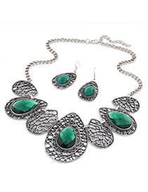 Custom Green Hollow Out Water Drop Pattern Design Alloy Jewelry Sets