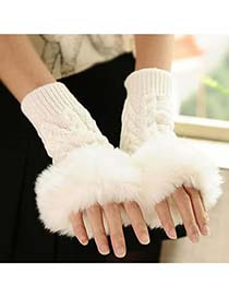Initial White Fingerless Plaid Kint Style Knitting Wool Fashion Gloves