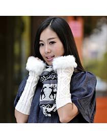 Coast White Fur Long Style Knit Fingerless