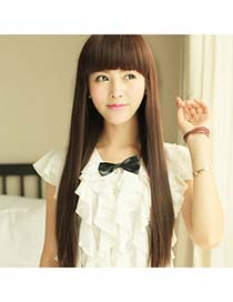 Hurley Dark Brown Full Bangs In Long Straight
