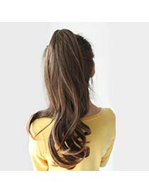 Expression Light Brown Slightly Curled Ponytail High-Temp Fiber Wigs