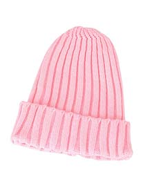 Reversible Pink Simple Candy Color Design Knitting Wool Knitting Wool Hats