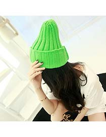 Infinity Green Simple Candy Color Design Knitting Wool Fashion Hats