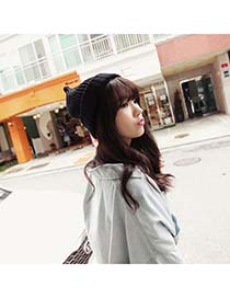 Corporate Black Simple Candy Color Design Knitting Wool Fashion Hats