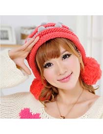 Skeleton Watermelon Red Stripe Pompon Earmuffs Design Knitting Wool Knitting Wool Hats