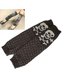 Nameplate Gray Cartoon Skull Design Knitting Wool Fashion Gloves