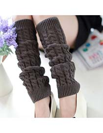 High Waist Gray Braided Loose Thicken Style Knitting Wool Fashion Gloves