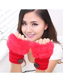 Brown Bright Red Half Fingerless Design Knitting Wool Fashion Gloves