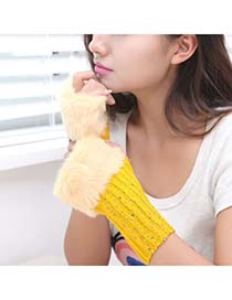 Madewell Ginger Color Fingerless Warmth Style Knitting Wool Fashion Gloves