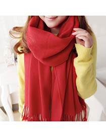 Friendship Bright Red Warmth Monochromatic Design Cashmere Fashion Scarves