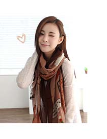 Sheer Coffee Cartoon Pattern Printing Design Voile Fashion Scarves