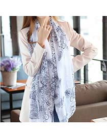 Costume White Porcelain Pattern Chiffon Fashion Scarves