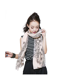 Baroque Pink Porcelain Pattern Chiffon Fashion Scarves
