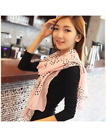Funny Pink Big Bow And Flower Pattern Chiffon Fashion Scarves
