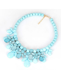 Hipster Blue Tassels Cloth Accessory Style Alloy Fashion Necklaces