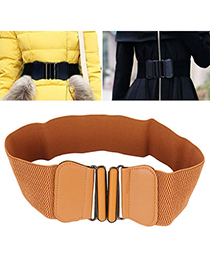 Religious Brown Elastics Pu Wide Style Alloy Wide belts