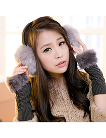 Male Gray Winter Warmth Design Imitate Rabbit Fur Fashion earmuffs