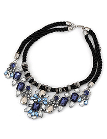 Fashion Black Circles Decorated Color Matching Simple Necklace