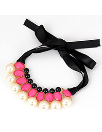 Native Plum Red 9 Pearls Design Alloy Bib Necklaces