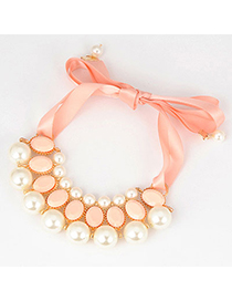 Polaris Pink 10 Pearls Design Alloy Bib Necklaces