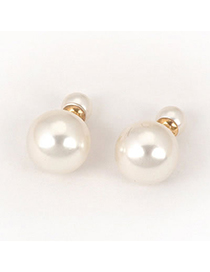 Fashion Gold Color+white Flower Shape Decorated Simple Earrings