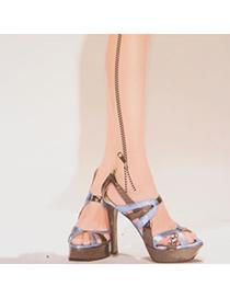 Plain Fleshcolor Thin Chain Pattern Yarn Fashion Stockings