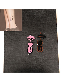 Light Black Cat And Umbrella Pattern Yarn Fashion Stockings