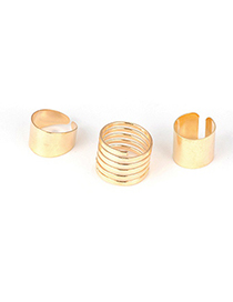 Oversized Gold Color Nail Style Alloy Korean Rings