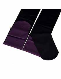 Eco Purple and Black Thicken Double Color Design Velvet Fashion Stockings
