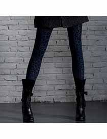 Liquid Blue Leopard Print Design Velvet Fashion Stockings
