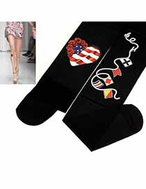 Turkish Black Flag Heart Pattern Velvet Fashion Stockings