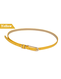 Charm Yellow Candy Color Buckle Pu Leather Thin belts