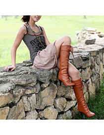 Down Brown Lace Up Rivet Decorated Design Pu Leather Boots