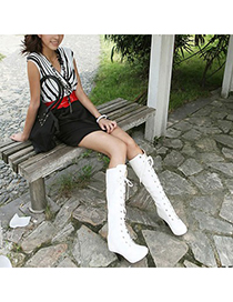 Estate White Lace Up Rivet Decorated Design Pu Leather Boots