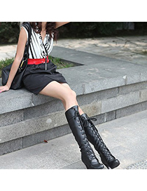 Best Black Lace Up Rivet Decorated Design Pu Leather Boots