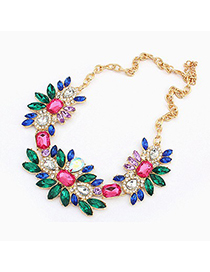 Fingerprin Multicolor Geometric Shape Gemstone Pendant Design Alloy Fashion Necklaces