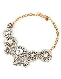 Mustard White Round Shape Diamond Decorated Alloy Bib Necklaces