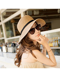 Liquid Khaki Ribbon Bowknot Decorated Design Straw Sun Hats