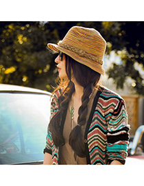 Maternity Multicolor Curly Brim Simple Design Straw Sun Hats