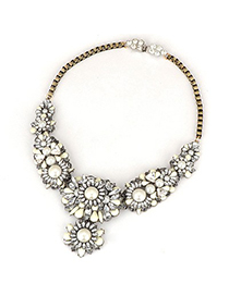 Tory White Flower Gemstone Decorated Design Alloy Fashion Necklaces