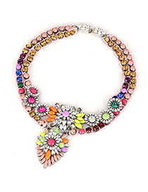 Juniors Multicolor Double Layers Diamond Decorated Design Alloy Fashion Necklaces