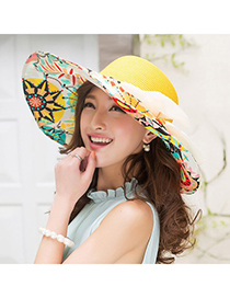 Vintage Yellow Flower Printed Brim With Big Bow Design Straw