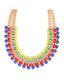 Fashion Blue+champagne Water Drop Shape Decorated Necklace