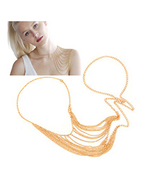 Arrowhead Gold Color Tassel Shawl Chain Design Alloy Body Chains