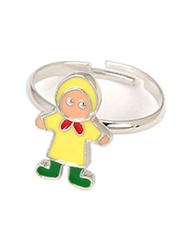 Concealed Yellow Cartoon Child Design Alloy Fashion Rings