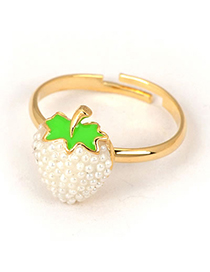 Padded White Strawberry Shape Design Alloy Fashion Rings