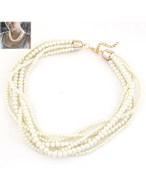 Ethnic White Multilayer Pearl Simple Design Glass Bead Beaded Necklaces