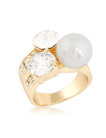 Carters Gold Color Sparkly Gemstone And Pearl Decorated Design Alloy Korean Rings
