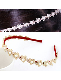 Homecoming Claret-Red Pearl Decorated Flower Design Lace Hair band hair hoop